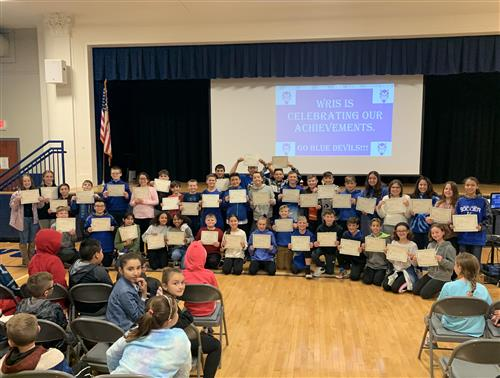 <center>Marking Period 1 Blue Devil Assembly - WRIS, Celebrating our Achievements <small><small><br>Click for pictures</small></small></center><hr>